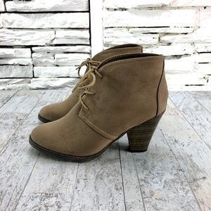 Mia Shawna Suede Lace Up Stacked Heel Boot